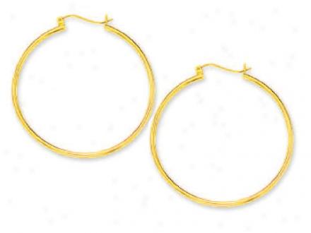 14k Yellow 2 Mm Extensive Tubular Hoop Earrings