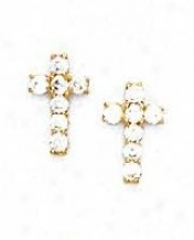 14k Yellow 2 Mm Round Cz Cross Friction-back Post Earrings