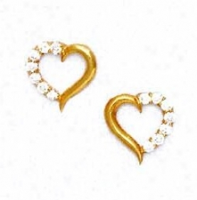 14k Yellow 2 Mm Round Cz Heart Form  Post Earrings
