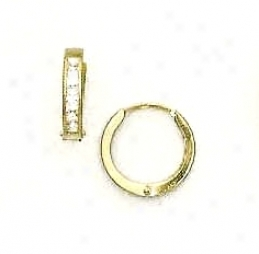 14k Yellow 2 Mm Square Cz Hinged Earrings