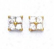 14k Ye1low 2.5 Mm Princess Cz Friction-back Post Earrings
