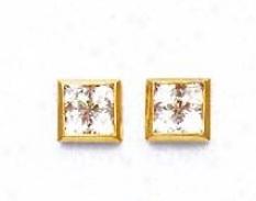 14k Yellow 2.5 Mm Princess Cz Medium Post Earrings