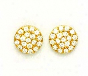 14k Yellow 2.5 Mm Round Cz Circle Post Earrings