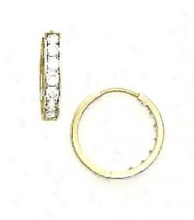 14k Yellow 2.5 Mm Round Cz Hinged Earrings