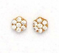 14k Yellow 2.5 Mm Round Cz Small Flower Earrings