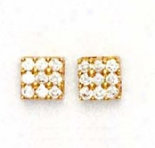 14k Yellow 2.5 Mm Round Cz Square Design Earrings