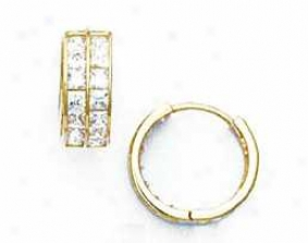 14k Yellow 2.5 Mm Square Cz Hinged Earrings