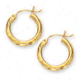 14k Yellow 3 Mm Diamond-cut Hoop Earrings
