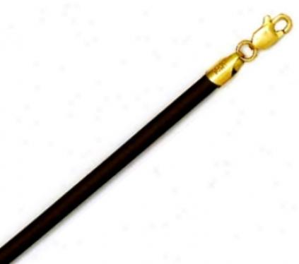 14k Golden 3 Mm Round Black Rubber Necklce - 20 Inch