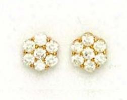 14k Yellow 3 Mm Round Cz Flower Design Earrings