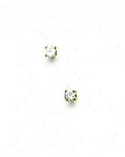 14k Yellow 3 Mm Round Cz Friction-back Stigmatize  Stud Earrings