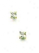 14k Golden 3 Mm Square Cz Frction-back Post Stud Earrings