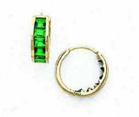 14k Yellow 3 Mm Square Emerald-green Cz Hinged Earrings