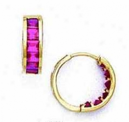 14k Yellow 3 Mm Square Ruby-red Cz Hinged Earrings