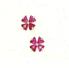 14k Yellow 3 Mm Trilliant Red Cz Childrens Clover Earrings