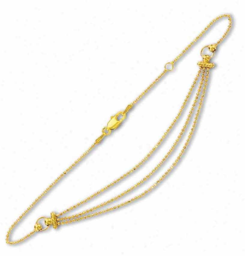 14k Yellow 3 Rows Drop Bead Anklet - 10 Inch