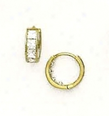 14k Yellow 3.5 Mm Square Cz Hinged Earrings