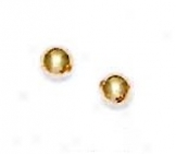 14k Yellow 4 Mm Ball Friction-back P0st Stud Earrings