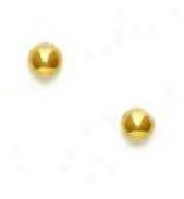 14k Yellow 4 Mm Childrens Ball Screw-back Earrings