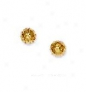 14k Yellow 4 Mm Diamond-cut Ball Earrings