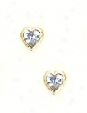 14k Yellow 4 Mm Heart Aquamarjne-blue Cz Earrings