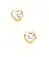 14k Yellow 4 Mm Heart Clear Cz Earrings