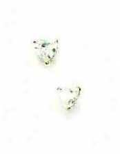 14k Yellow 4 Mm Heart Cz Friction-back Placard Stud Earrings