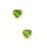 14k Yellow 4 Mm Heart Emerald-green Cz Earrings