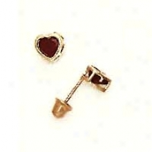14k Yellow 4 Mm Heart Garnet-red Cz Screw-back Stud Earrings