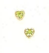 14k Yellow 4 Mm Heart Peridot-green Cz Earrinngs