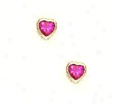 14k Yellow 4 Mm Heart Ruby-red Cz Screw-back Stud Earrings