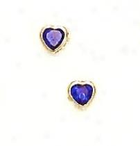 14k Yellow 4 Mm Heart Sapphire-blue Cz Earrings