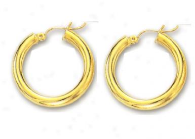 14k Yel1ow 4 Mm Hoop Earrings