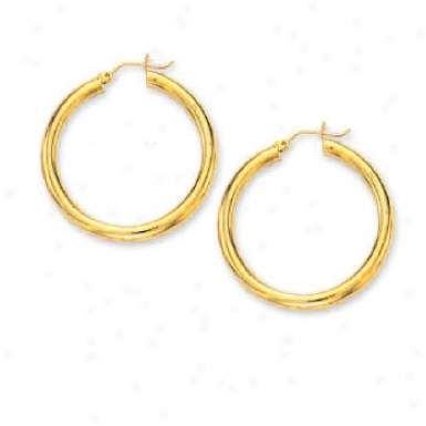 14k Yellow 4 Mm Large Tubular Hoop Earrings