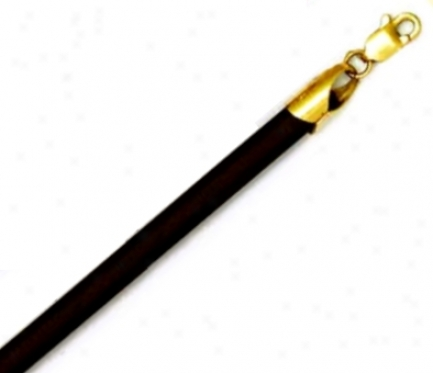 14k Yellow 4 Mm Round Black Rubber Necklace - 16 Inch