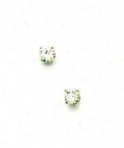 14k Yellow 4 Mm Round Cz Friction-back Post Stud Earrings