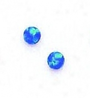 14k Yellow 4 Mm Roumd Dark Blue Opal Earrings