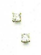 14k Yellow 4 Mm Square Cz Friction-back Post Stud Earrings