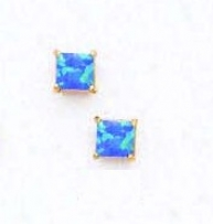 14k Yelow 4 Mm Square Dark Blue Opal Earrings