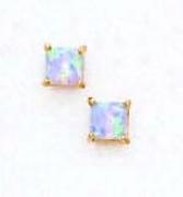 14k Yellow 4 Mm Square Light Blue Opal Earrings