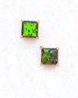 14k Yelloa 4 Mm Square Mystic Green Opal Earrongs