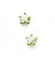 14k Yellow 4 Mm Start Cz Friction-back Post Stud Earrings
