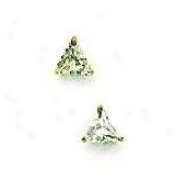 14k Yellow 4 Mm Trilliant Cz Post Stud Earrings