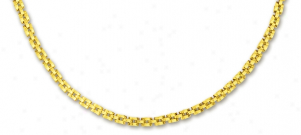 14k Yellow 4 Mm Triple Row Panther Necklace - 17 Inch