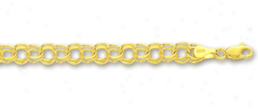 14k Yellow 4.5 Mm Charm Bracelet - 7 Inch