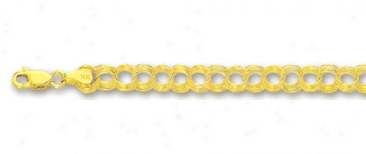 14k Yellow 4.5 Mm Four Ring Charm Bracelet - 7 Inch