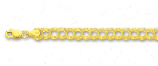 14k Yellow 4.5 Mm Four Ring Charm Brace1et - 8 Inch