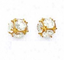 14k Yellow 4.5 Mm Round Cz Large Cube Post Earrings