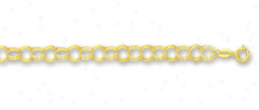 14k Yellow 4.5 Mm Triple Ring Charm Bracelet - 7 Inch