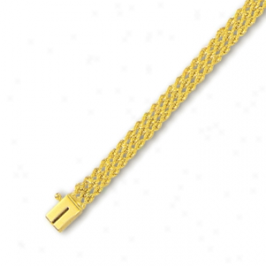 14k Yellow 4.5 Mm Triple Row Solid Draw as by a ~ Bracelet - 8 Inch